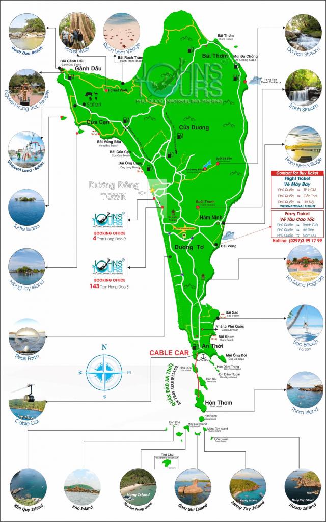 Bản đồ du lịch Phú Quốc tham quan đảo