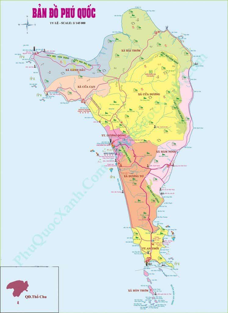 Bản đồ du lịch Phú Quốc mới nhất